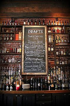 Would love to build a wall like this for a future basement bar. Make into our sports bar with all our Redsox stuff and cool glasses Pub Design, Bar Interior Design, Restaurant Design, Restaurant Bar, Sport Bar Design, Back Bar Design, Vintage Restaurant, Irish Pub Interior, Irish Pub Decor