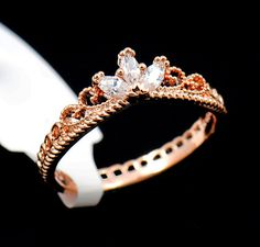 Sparkle & Jade Rose Gold CZ Delicate Crown Ring