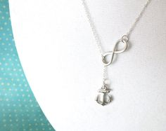 Silver Anchor and Infinity Lariat, Y Necklace, Sterling Silver, Forever Anchored, sister, best friends, mom, Proud Navy Wife Necklace