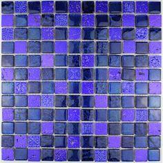 carrelage verre mosaique douche salle de bain PULP BLEU | mosaique ...