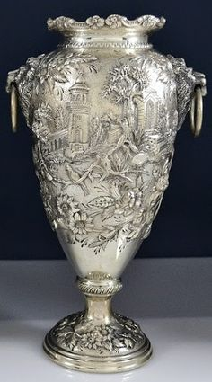 S Kirk & Son Sterling Silver Castle design Vase.