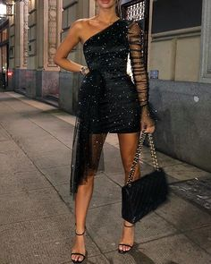 Glitter One Shoulder Sheer Mesh Ruched Long Sleeve Bodycon Dress Women Dress – fashion Looks Chic, Looks Style, Evening Dresses, Prom Dresses, Formal Dresses, Bridesmaid Dresses, Sexy Dresses, Midi Dresses, Mini Vestidos