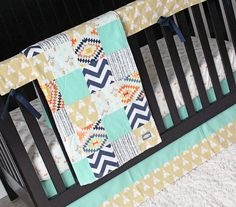 This beautiful new set is in stock and ready to ship! Make your nursery completely unique with this one of a kind teepee crib bedding. Perfect for