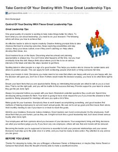 Take control of your destiny with these great leadership tips ebook by ErickEsmenjaud via slideshare