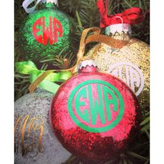 O Christmas Tree, O Christmas Tree, How lovely are these Monogrammed Ornaments! // #WhiteElephantMonogrm on Etsy.com- #Monograms (Diy Ornaments Monogram)