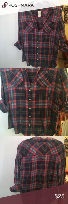 🆕 AERO FLANNEL ❤️ Orange/blue/yellow/white 2 front pocket flannel. 9 butoons. 55% cotton 45% rayon. Brand new. Smoke free. Fast shipping. 15% off 3 item bundle! Ty! Aeropostale Tops Button Down Shirts