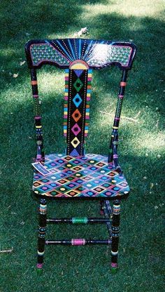 Unique hand painted chair - black with colorful diamond pattern #PaintedChair
