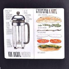 Milk Sandwich, Sketch Journal, Food Drawing, Drawing Step, Food Journal, Sketch Painting, Illustrator, Marker Art, Food Illustrations