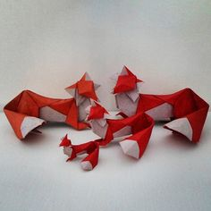 Origami Fox Foxes Family Whatdoesthefoxsay 4 Red White