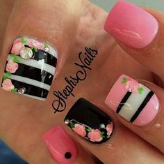 Candy Nail Design | Dessert Manicure with Pink & Black