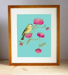 Finch and Flowers art print