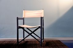 Swiss foldable chair with canvas seat and back from the sixties. 6 pieces available