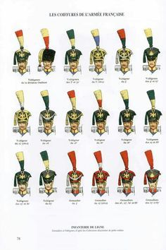 Line Infantry shako variants Military Insignia, Military Art, Military History, Waterloo 1815, War Of 1812, French History, Army Uniform, French Army, French Revolution