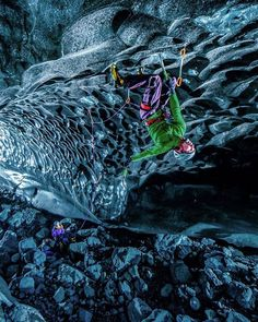 [CLIMBING ICE // 2 of 9] by @timkemple After exploring the moulins of the Vatna glacier we knew it was time to head underground. What we found is hard to describe... Imagine miles of canyons caves and riverbeds all carved out of ice just waiting to be climbed and explored. We named this cave pictured here 'Black Ice' because of the ash layered into the glacier from years of volcanic eruptions. It took @klemenpremrl and @rahelschelb a couple tries to send this line which they thought was…