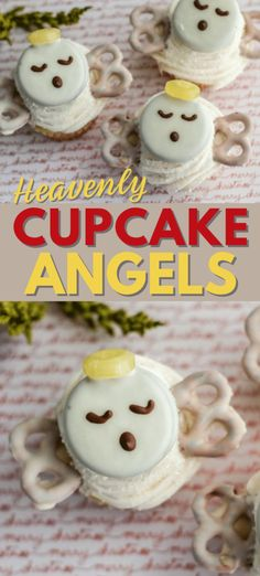 Heavenly Cupcake Angels - Wondermom Wannabe - Heavenly Cupcake Angels These heavenly cupcake angels only take a few simple ingredients to create and make a fun, but subtle addition to your dessert table. Ideal for any religious-based holiday or party. Chocolate Candy Melts, Melting White Chocolate, Chocolate Covered Pretzels, Chocolate Flavors, Christmas Desserts, Christmas Treats, Handmade Christmas, Christmas Decor, Olaf Cupcakes