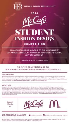 US UnderGrads #Design a #RedCarpet  dress to #Win a $1k @ HFRMovement scholarship & trip to McCafè #Awards Bf May 9 – Conditions apply – Modeconnect.com for Fashion Students Worldwide
