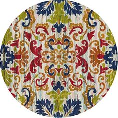 Loloi Rugs ARIAHAR18IVML300R Aria Collection Round Transitional Area Rug, 3-Feet by 3-Feet, Ivory/Multicolor Loloi Rugs