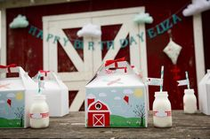 vintage barnyard barn farm kite themed birthday party supplies idea planning