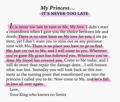 To My Princess...it's never too late