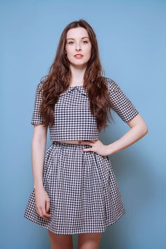 60s style Check Gingham Co-Ord // Peterpan Collar Two Piece Matching Set // Skirt and Crop Top