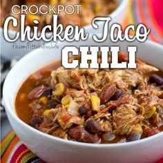 There is nothing like dropping food in a crockpot, leaving, and coming back to house that smells amazing, and dinner thats already done! This was a HIT with EVERYONE in the house even the baby! This taco chicken chili is a delicious, low calorie, high fiber meal. I ate it just as it was, with a sprinkle of low fat cheddar cheese and plain greek yogurt or you can do low fat sour cream. There was enough for a fam of 4 and leftovers as well!