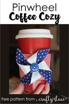 Pinwheel Coffee Cozy from Crafty Staci #pinwheel #coffeecozy Easy Preschool Crafts, Easy Diy Crafts, Toddler Crafts, Diy Craft Projects, Sewing Projects, Craft Ideas, Coffee Cozy Pattern, Coffee Cup Sleeves, Blue Crafts