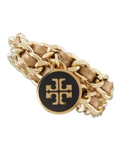 Metallic Leather & Chain Bracelet, Gold by Tory Burch at Neiman Marcus.