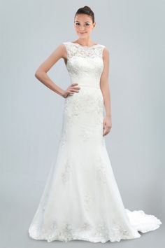 Flirtatious A-line Wedding Dress in Beaded Lace with Illusion Neckline and Deep V-back