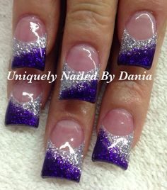Opting for bright colours or intricate nail art isn't a must anymore. This year, nude nail designs are becoming a trend. Here are some nude nail designs. Purple And Silver Nails, Purple Nail Art, Silver Nail Art, Purple Glitter Nails, Valentine's Day Nail Designs, Purple Nail Designs, Acrylic Nail Designs, Prom Nails, Wedding Nails