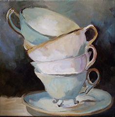 Tea Cups by artist Elaine Jackson. #acrylic painting found on the FASO Daily Art Show - http://dailyartshow.faso.com