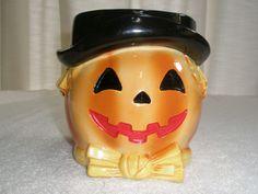 Vintage RELPO Halloween Pumpkin Planter A1845 Bowtie
