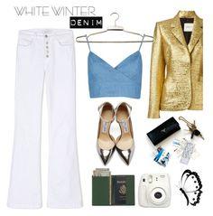 """On Trend: Winter White Denim"" by piedraandjesus ❤ liked on Polyvore featuring Lanvin, VILA, J Brand, Jimmy Choo, Royce Leather and winterwhite"