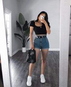 Basic Outfits, Teen Fashion Outfits, Mode Outfits, Short Outfits, Simple Outfits, Look Fashion, Pretty Outfits, Stylish Outfits, Girl Fashion