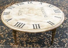 Kitchen table repurposed into a faux clock coffee table
