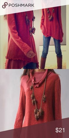 NWOT cranberry sweater Asymmetrical hem sweater with cowl neck. *sizes run small size up one for the best fit. Sweaters Crew & Scoop Necks