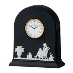 Wedgwood Jasper Classic White on Black Clock