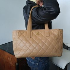 Chanel-Caviar-Leather-Quilted-Tote-Bag-Camel-free-shipping-large