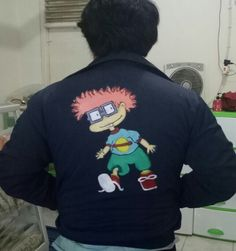 Jacket painted by me #jacketpainting #acrylic #painting #rugrats #chaki 💕💕💕