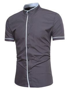 Casual Business Solid Color Stand Collar Short Sleeve Designer Shirts for Men Casual Business Solid Color Stand Collar Short Sleeve Designer Shirts for Men Formal Shirts, Casual Shirts For Men, Men Casual, Men Shirts, Stand Collar Shirt, Collar Shirts, Indian Men Fashion, Men's Fashion, Half Shirts