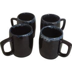 Four Van Briggle Drip Glaze Mugs @rubylanecom #VintagePottery #rubylane