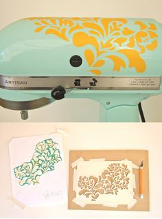 Dress up your stand mixer with a pretty stencil pattern cut out of colored wall vinyl. | 21 Adorable DIY Projects To Spruce Up Your Kitchen