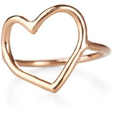 Chupi Open Heart Ring In Solid Gold ($445) ❤ liked on Polyvore featuring jewelry, rings, yellow gold jewelry, 14 karat gold jewelry, 14k yellow gold ring, gold jewelry and 14k ring