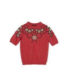 Marios Schwab: Hexagon Embroidery Short Sleeve Knit (159.105 RUB) ❤ liked on Polyvore featuring marios schwab