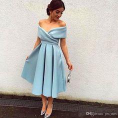 2016 Cheap Vintage Cocktail Dresses V Neck Cap Sleeves Arabic Myriam Fares Satin…