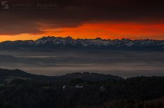 Tatra Mountains seen from Magurki in Gorce. Tatra Mountains, Poland, Sky, Celestial, Sunset, Landscape, Nature, Travel, Outdoor