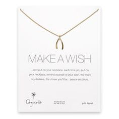 make a wish large wishbone necklace, gold dipped