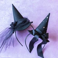 DIY Witch Hat Fascinators for Halloween – Lia Griffith Fascinadores do Chapéu de Bruxa Moldes Halloween, Adornos Halloween, Manualidades Halloween, Halloween Disfraces, Kids Witch Costume, Halloween Witch Hat, Halloween Crafts, Halloween Season, Little Girl Witch Costume
