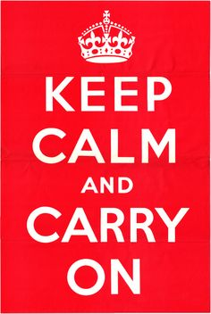 """Keep Calm and Carry On was the third in a series of World War II posters drawn up by the UK Ministry of Information in order to boost the morale of the British people by passing on a message from King George VI. The first two posters were widely printed and distributed. However, the third poster, which carried the simple message """"Keep Calm and Carry On"""" was never distributed. It is believed that only two original posters out of a print run of over a million survive to this day."""