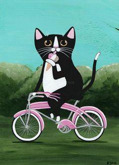 kitty on bike with ice cream