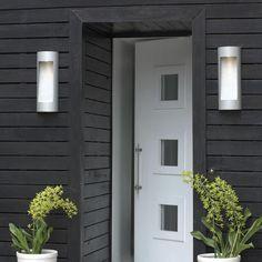 Luna Outdoor Wall Sconce Exterior Doors For Sale Cheap Black Front Doors, Modern Front Door, Wood Front Doors, Modern Entryway, Front Door Entrance, House Entrance, Entry Doors, Front Porch, Modern Entrance